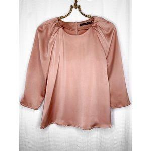 Zara dusty rose sateen blouse